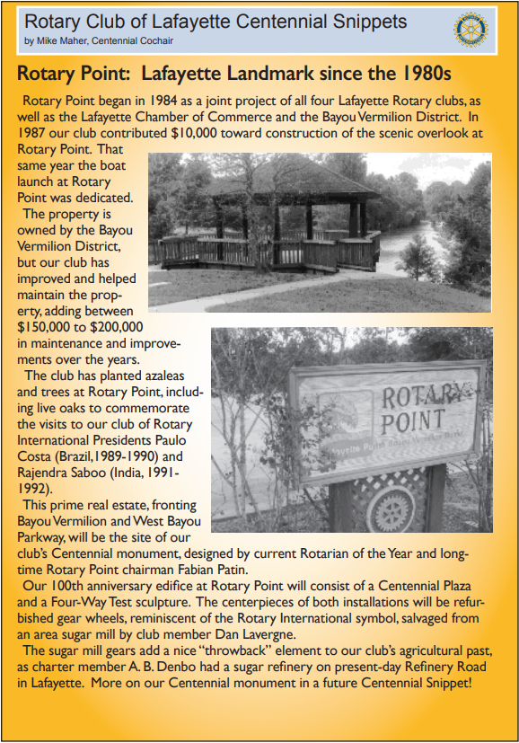 Rotary Point: Lafayette Landmark since the 1980s